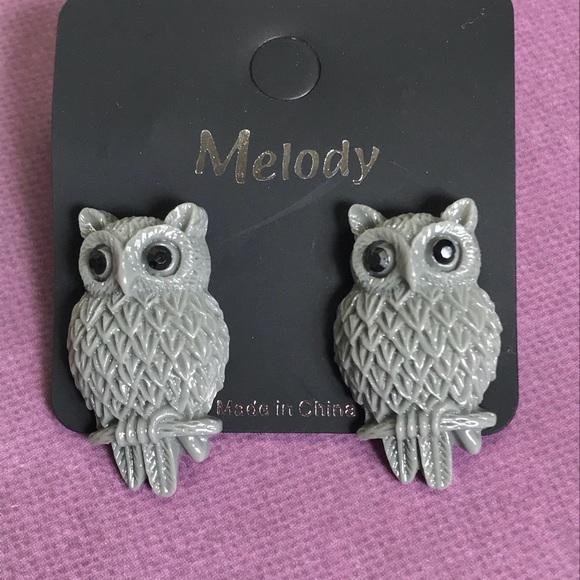 Melody Jewelry - Cute Owl Drop Post Earrings in Gray - Black Eyes